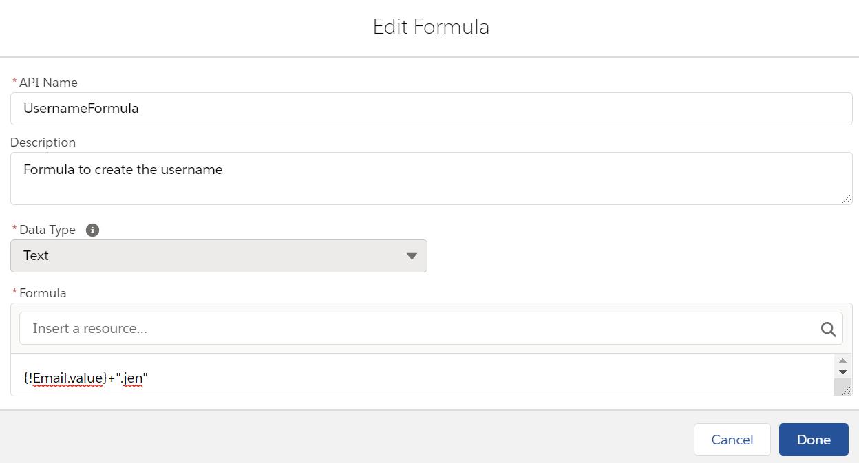 UsernameFormula
