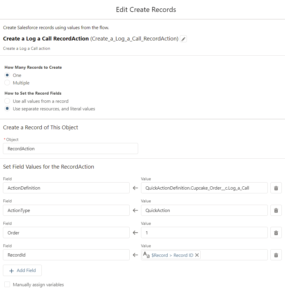 Create RecordActions for the Cupcake Order-Flow-CreateRecords1