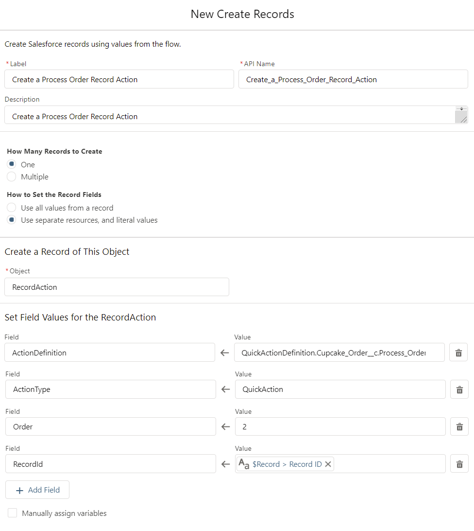 Create RecordActions for the Cupcake Order-Flow-CreateRecords2