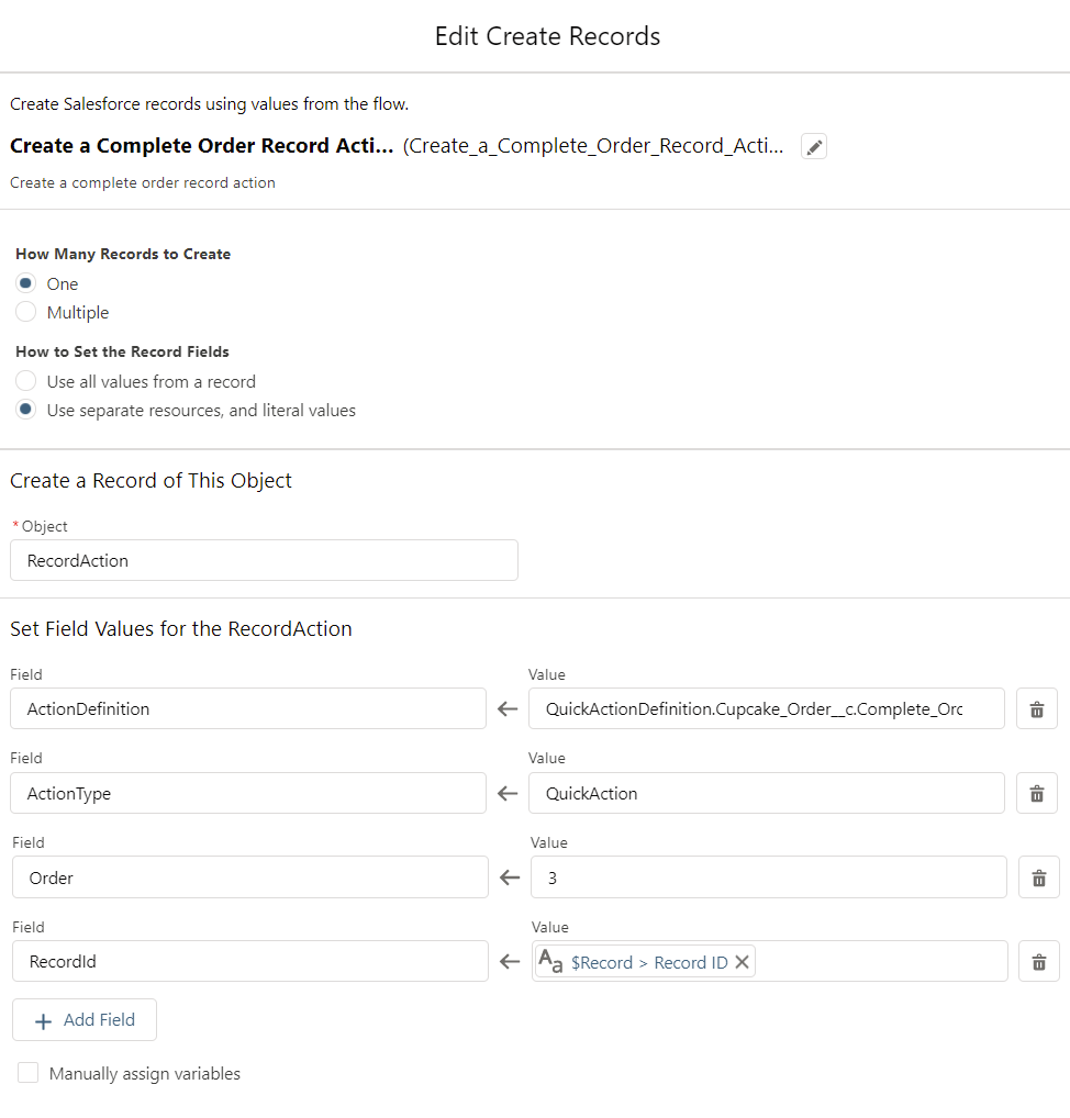 Create RecordActions for the Cupcake Order-Flow-CreateRecords3