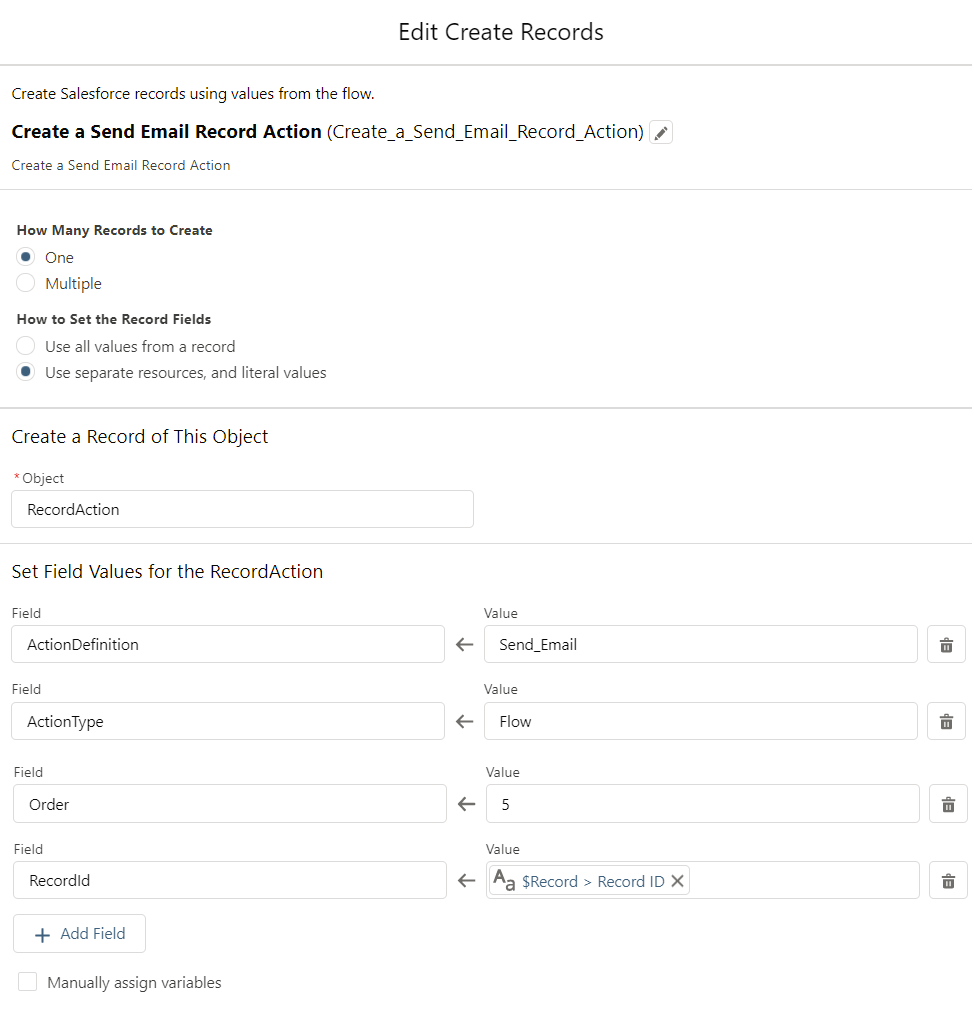 Create RecordActions for the Cupcake Order-Flow-CreateRecords5