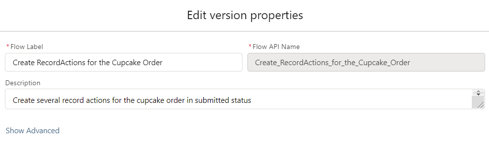 Create RecordActions for the Cupcake Order-Flow-Properties